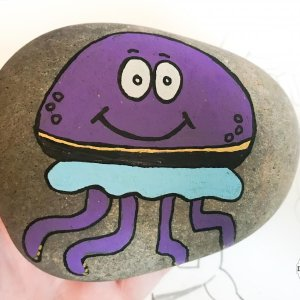 jellyfish rock stone painting