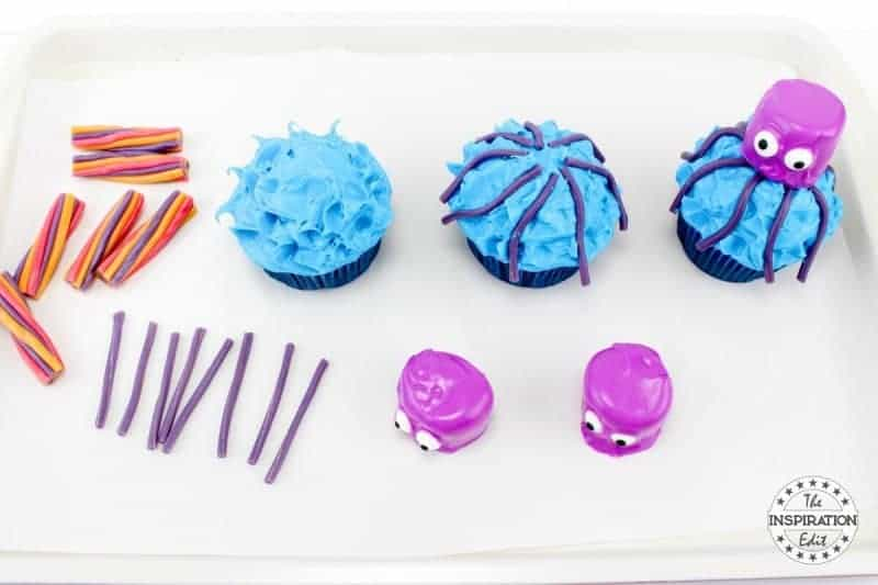 add octopus heads to the cupcakes