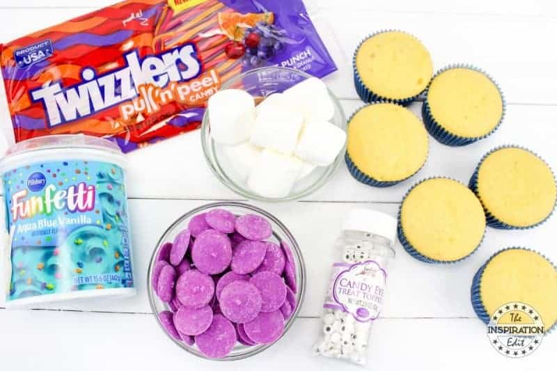 Supplies for baking with kids octopus cupcakes melts and marshmallows