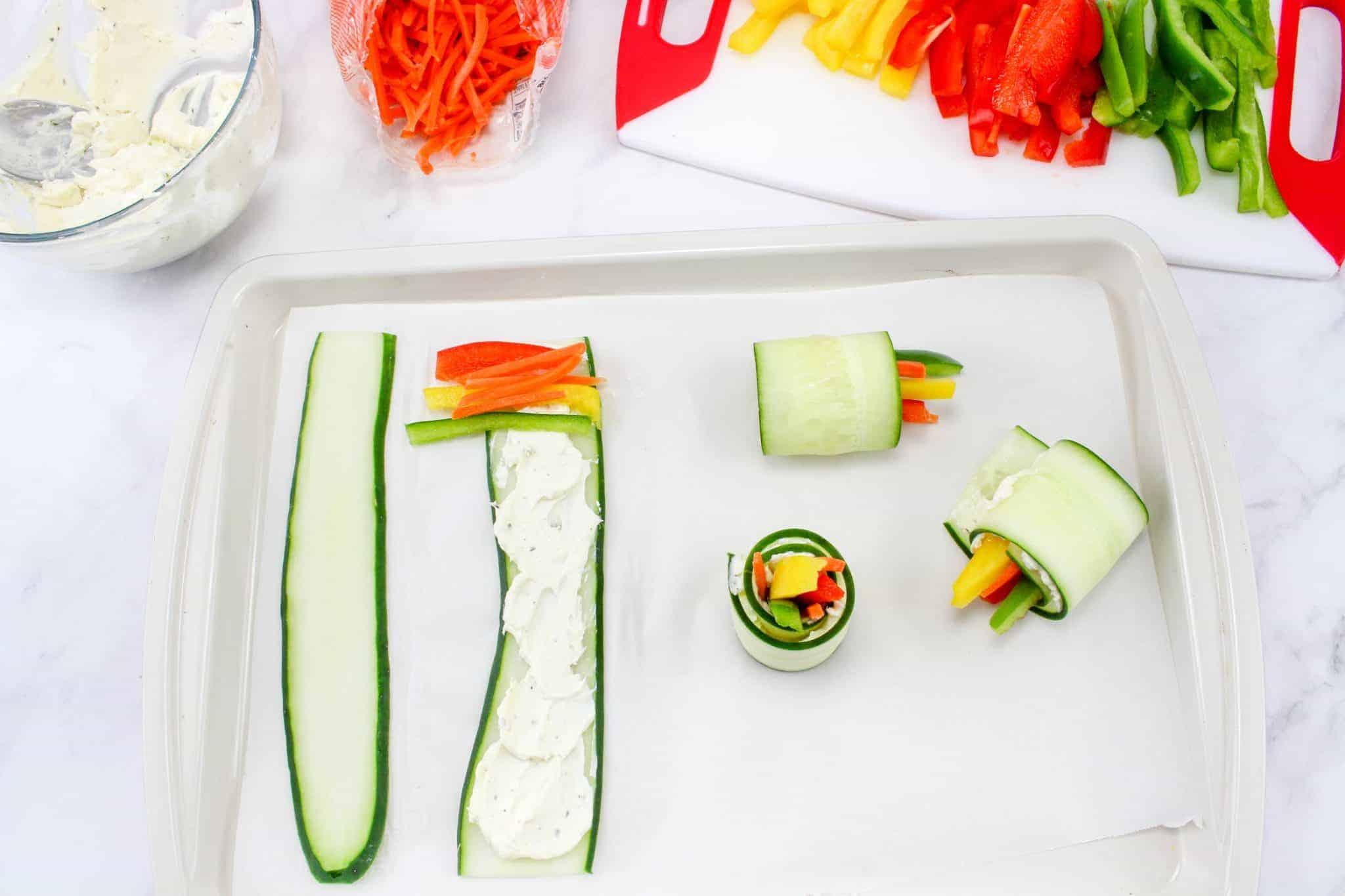 making Tasty Vegetable and cucumber bites recipe