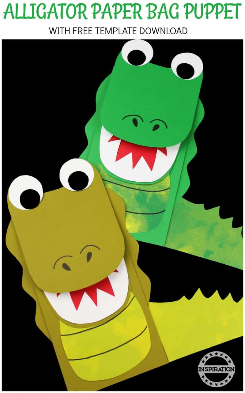 ALLIGATOR CRAFT AND FREE PAPER BAG PUPPET TEMPLATE