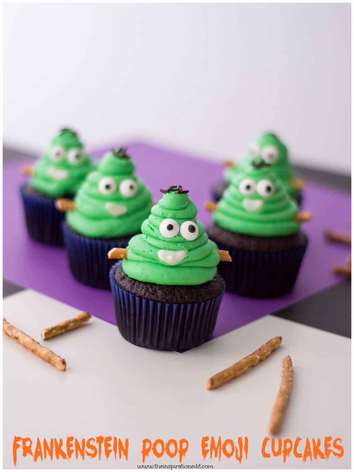 frankestein poop emoji cupcakes