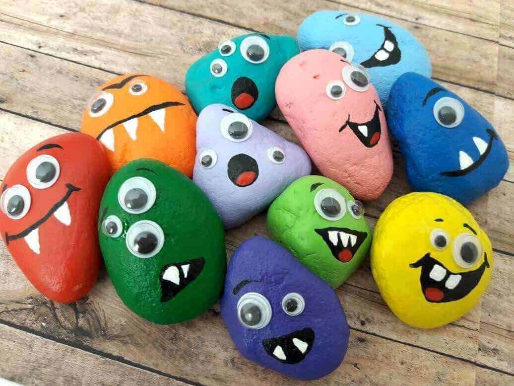 painted rock monster stones and monster rock stones