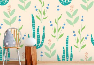 'Dinosaurs Florals' Wallpaper Mural by The Tiny Garden at Wallsauce.com