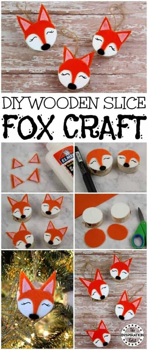diy wooden fox craft christmas decoration