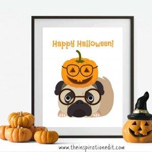 Happy Halloween Pug Art