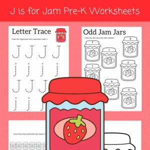 J is for Jar alphabet worksheets for preschoolers