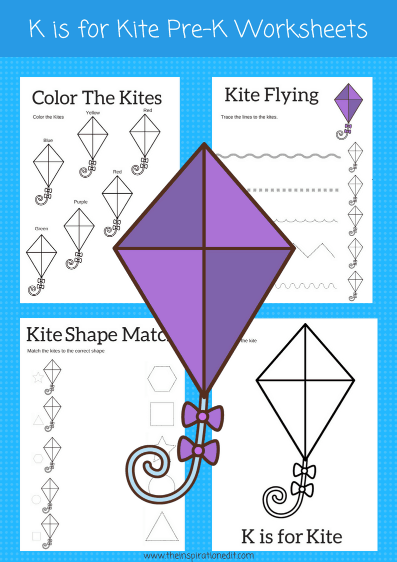 K is for Kite letter K preschool worksheets