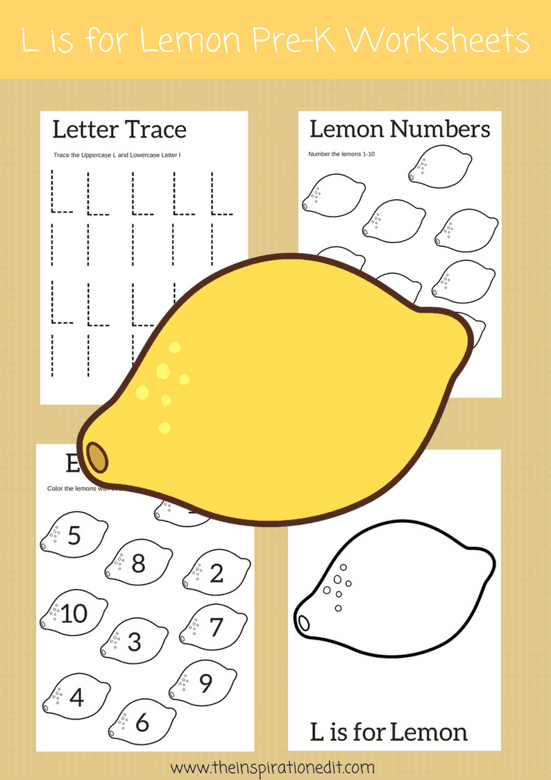 Letter L worksheets free download L is for lemon
