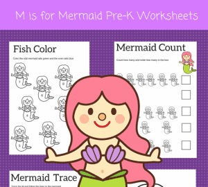 M is for Mermaid preschool worksheets