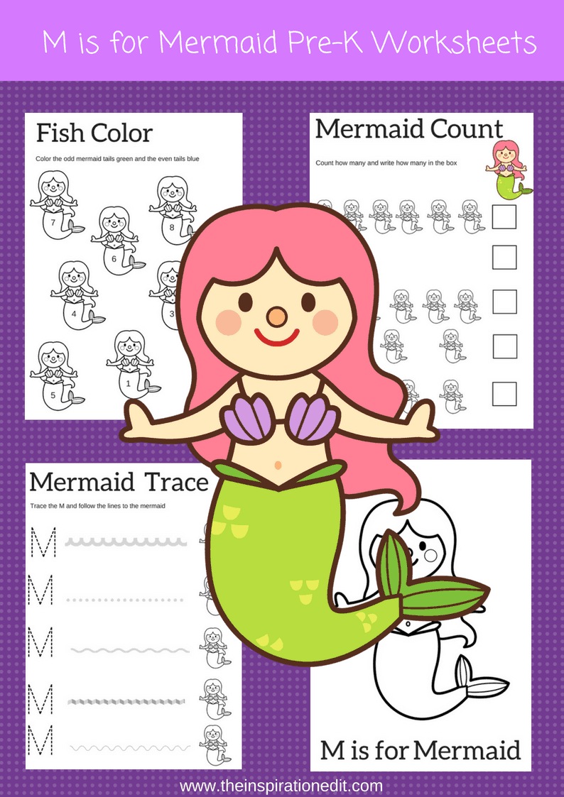 M is for Mermaid preschool worksheets