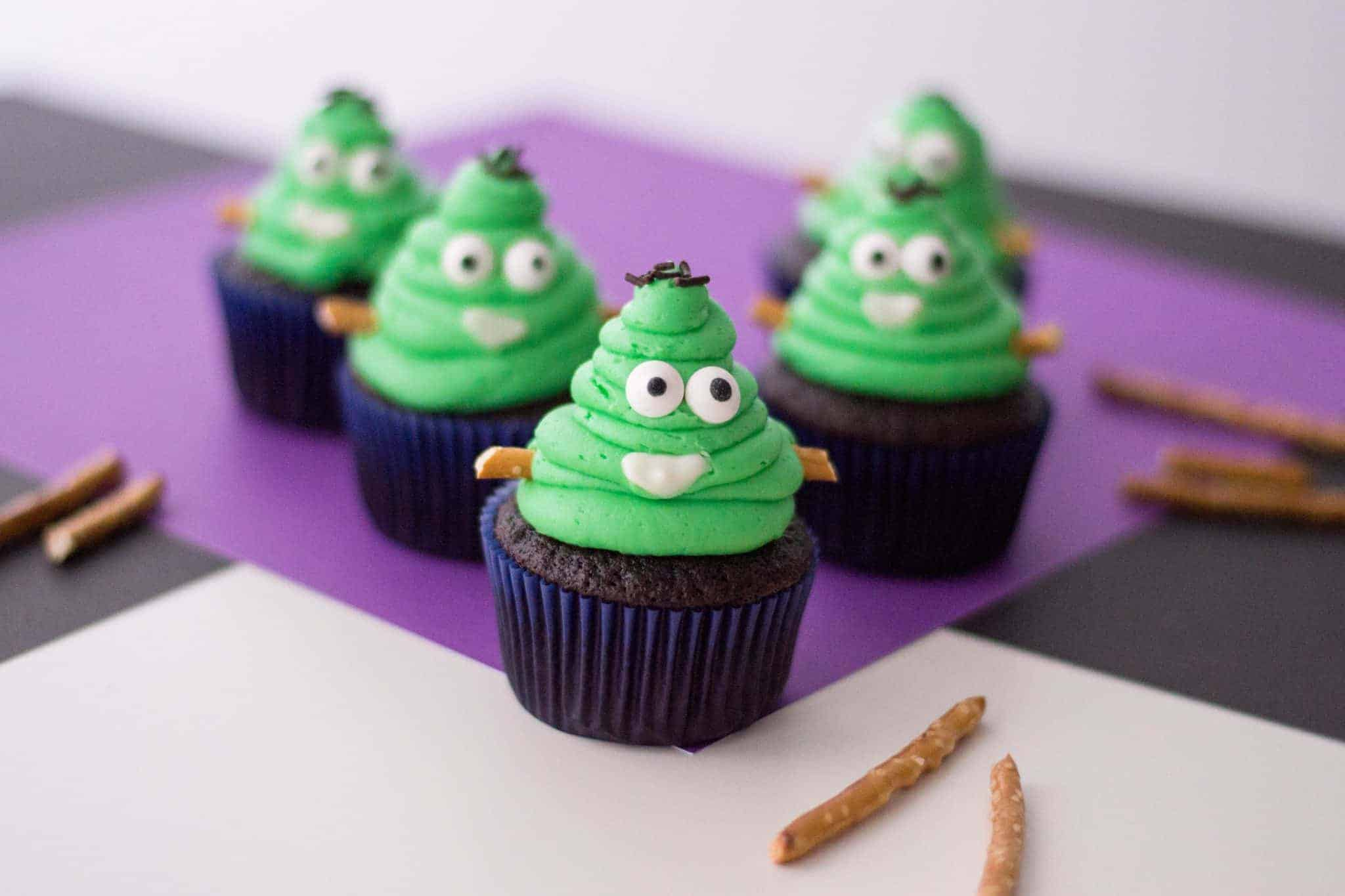 Frankenstein Monster Halloween Cupcakes