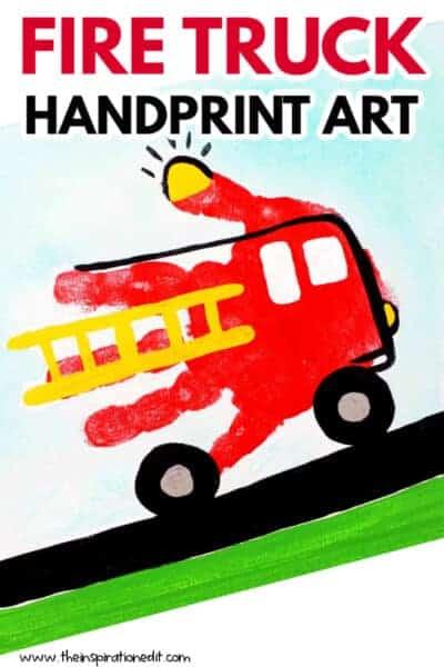 Fire truck hand print art