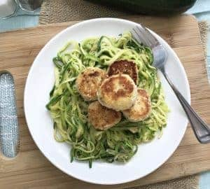 low carb chicken meatballs with zoodles