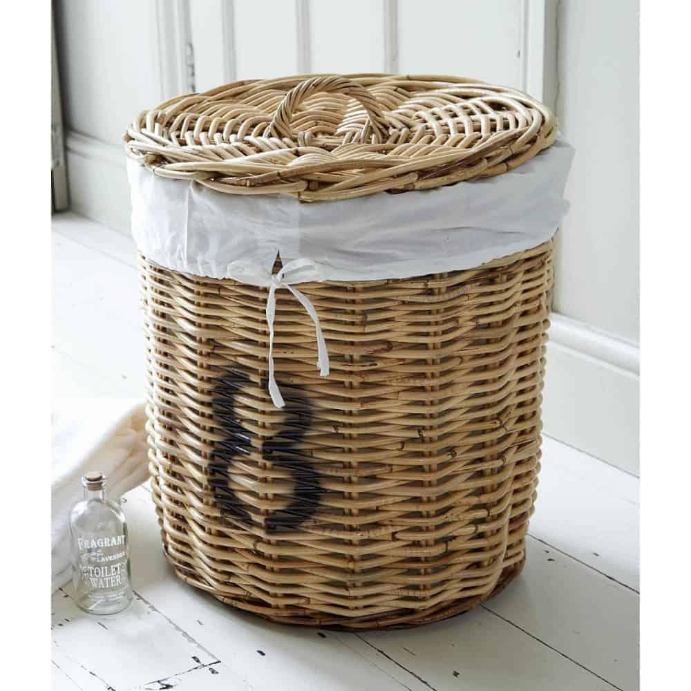 hampton round ratten linen basket