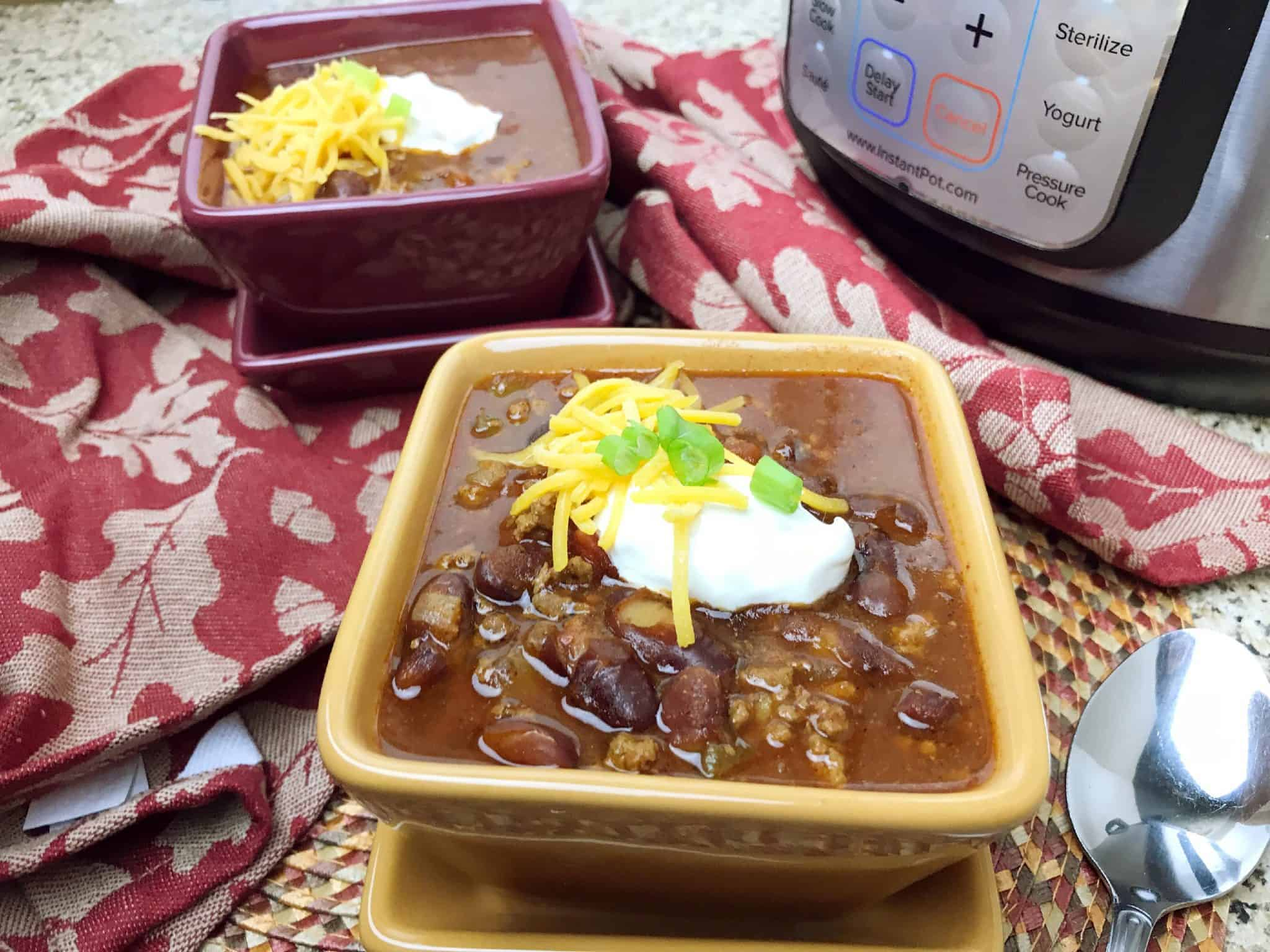 Here's an easy and tasty Instant Pot Chili recipe including beans and beef.