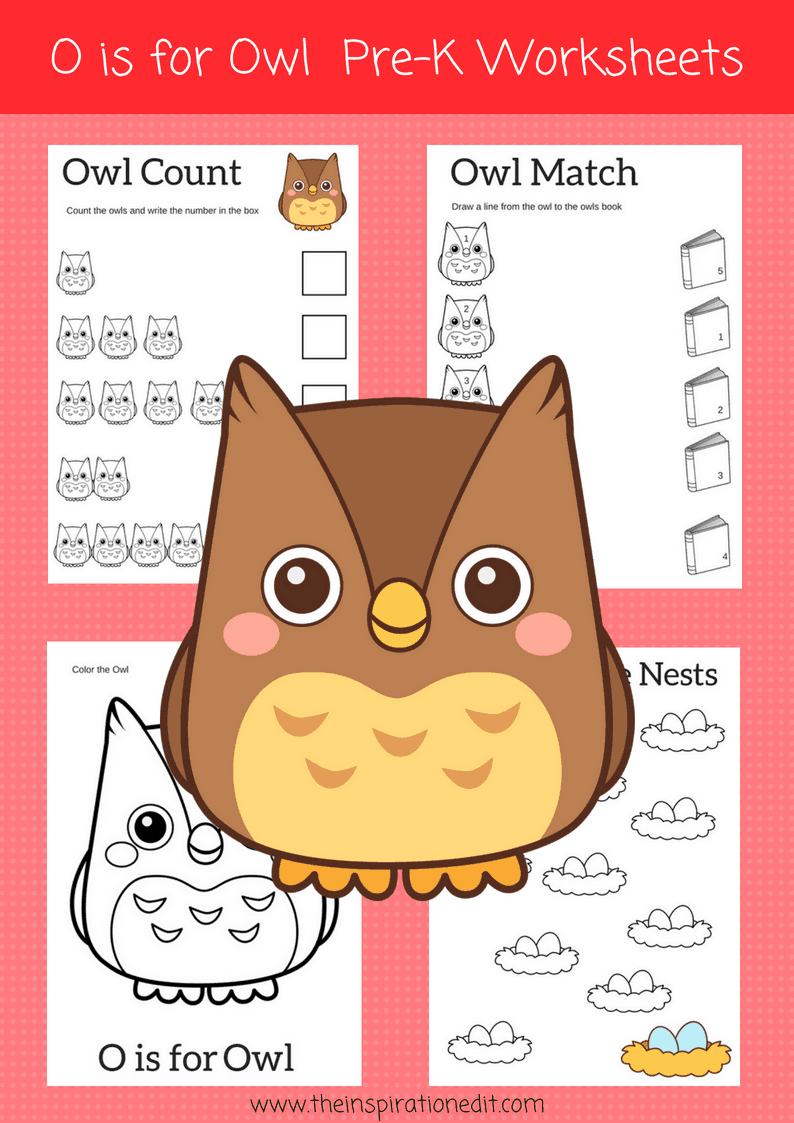 O is for Owl Preschool Worksheets