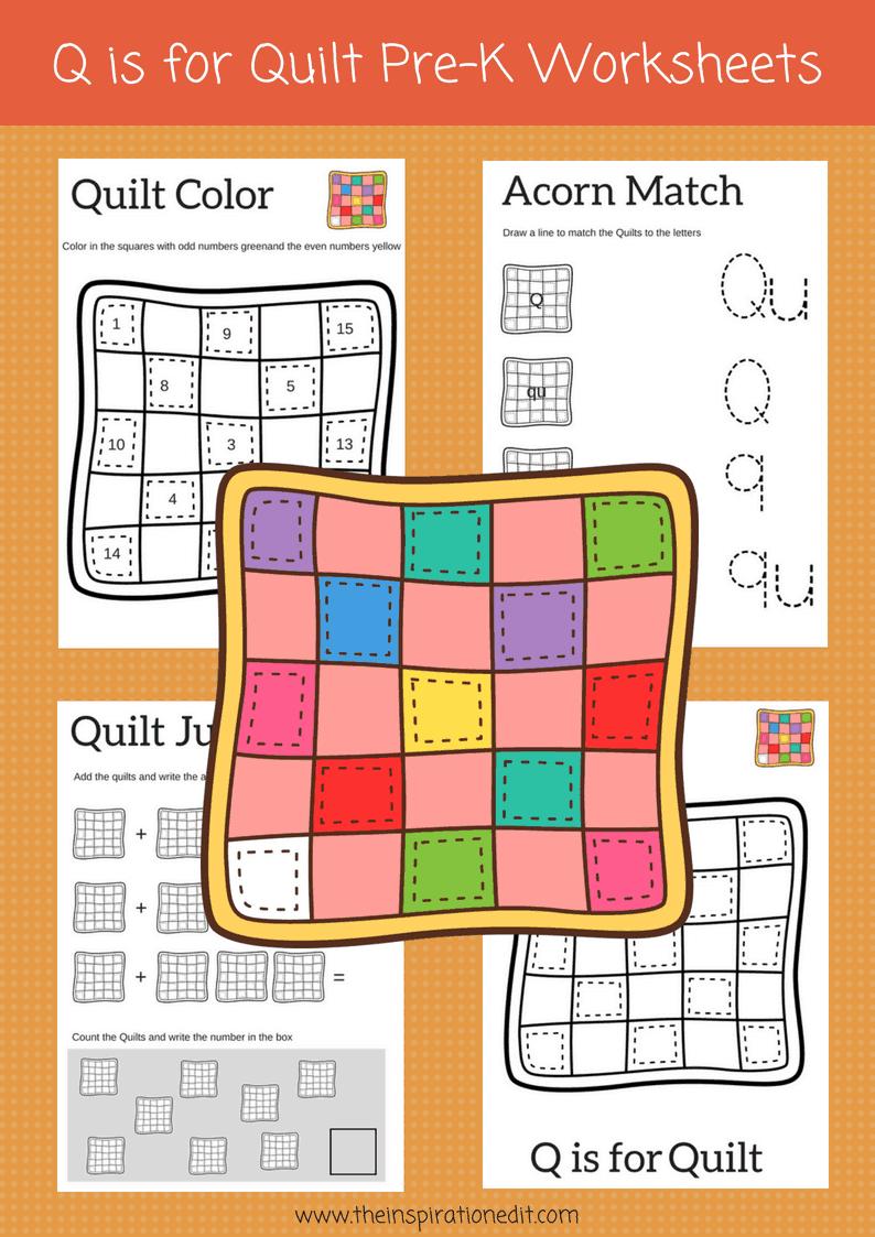 Q is For Quilt preschool worksheets