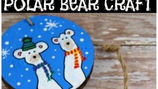 polar bear wooden slice craft