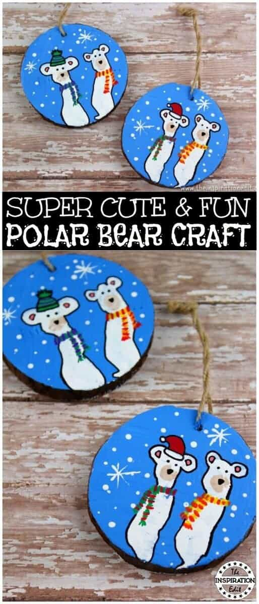 polar bear wooden slice craft