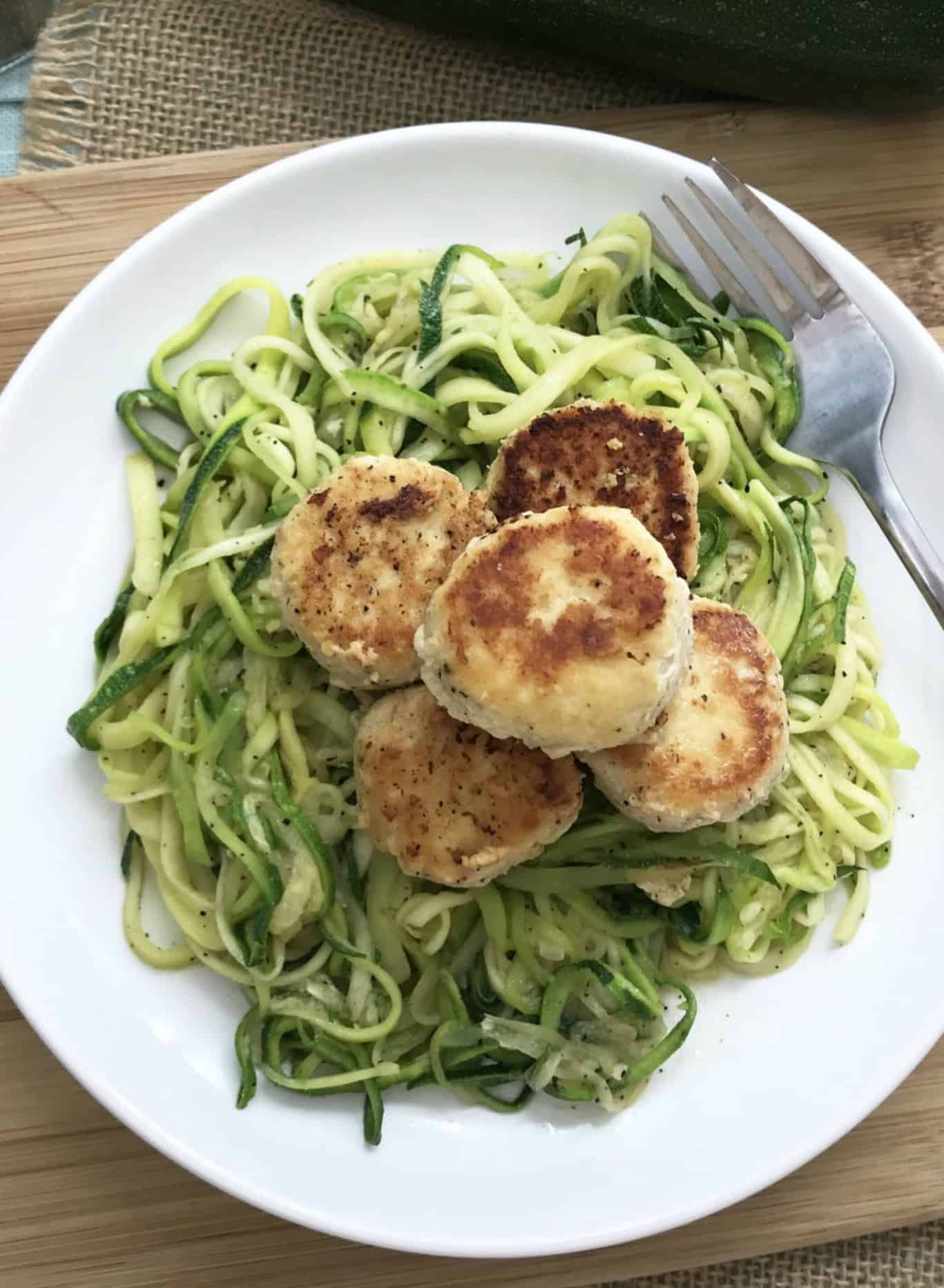 low carb chicken meatballs with zucchini noodles
