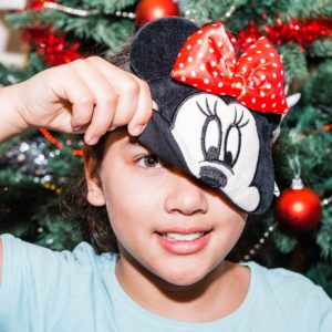 pampering using a minnie mouse facemask from primark