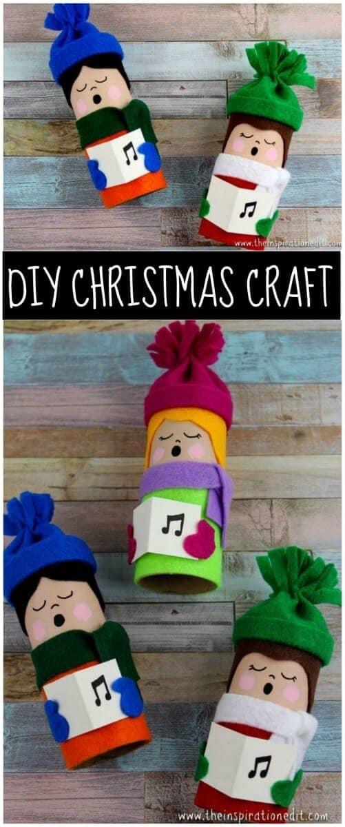 Christmas Carolers Tube Craft