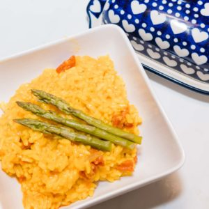 instant pot saffron risotto with chorizo and asparagus