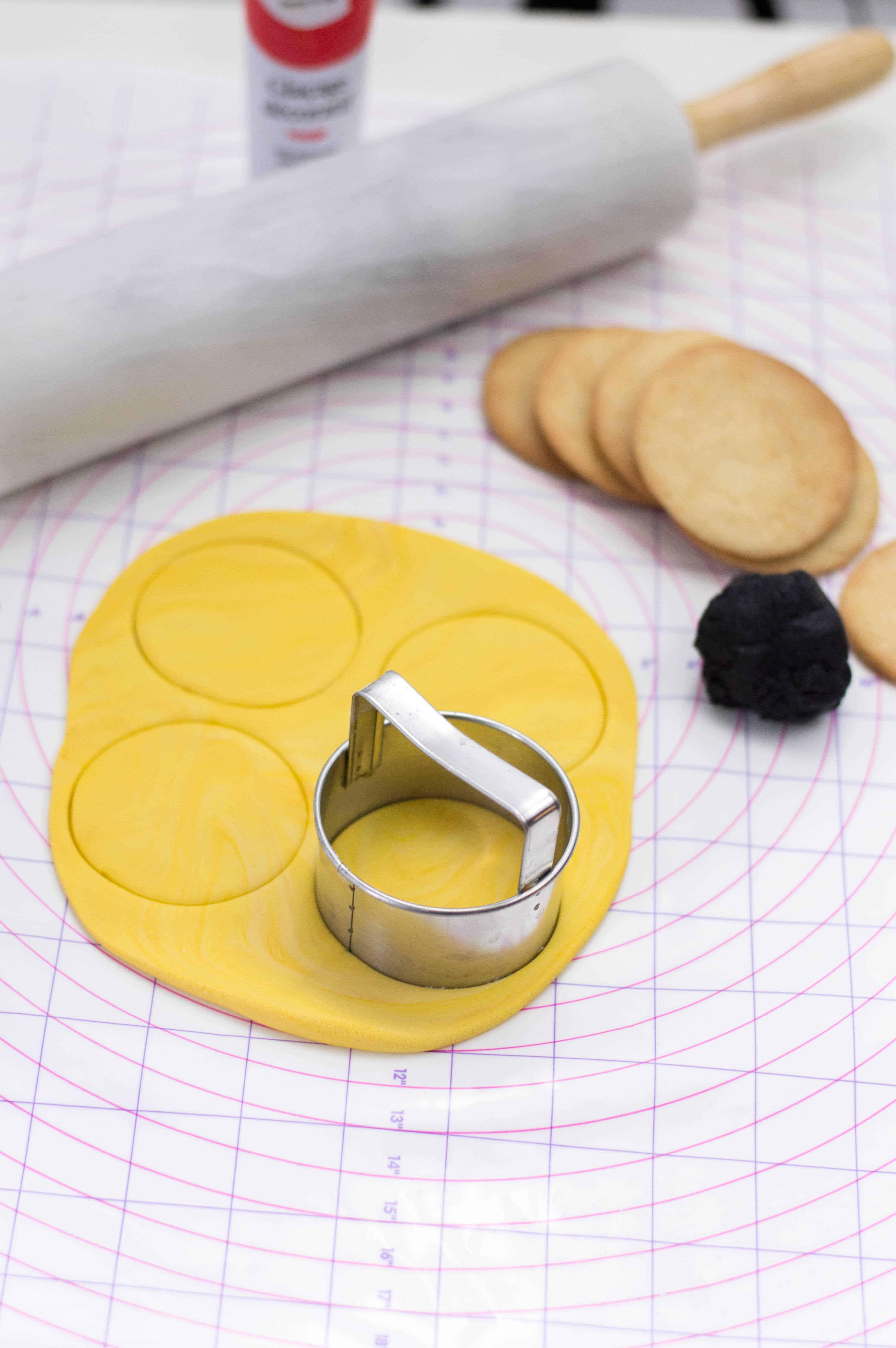 cutting the dough into circles