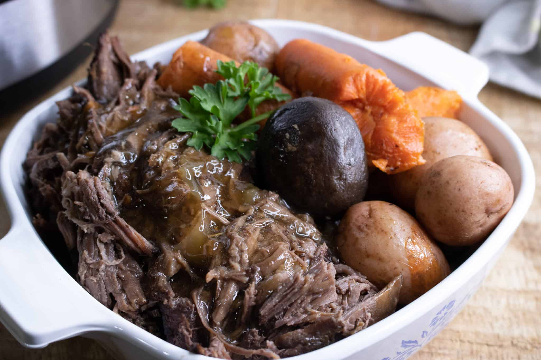 It's done -- a delicious array of flavorful food for your easy instant pot pot roast.