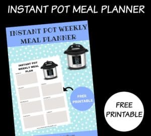 INSTANT POT MENU PLAN