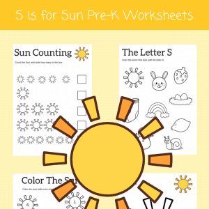 S is for Sun preschool alphabet printables