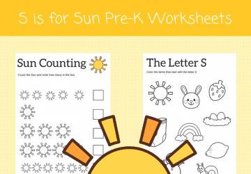 S is for Sun preschool alphabet printables