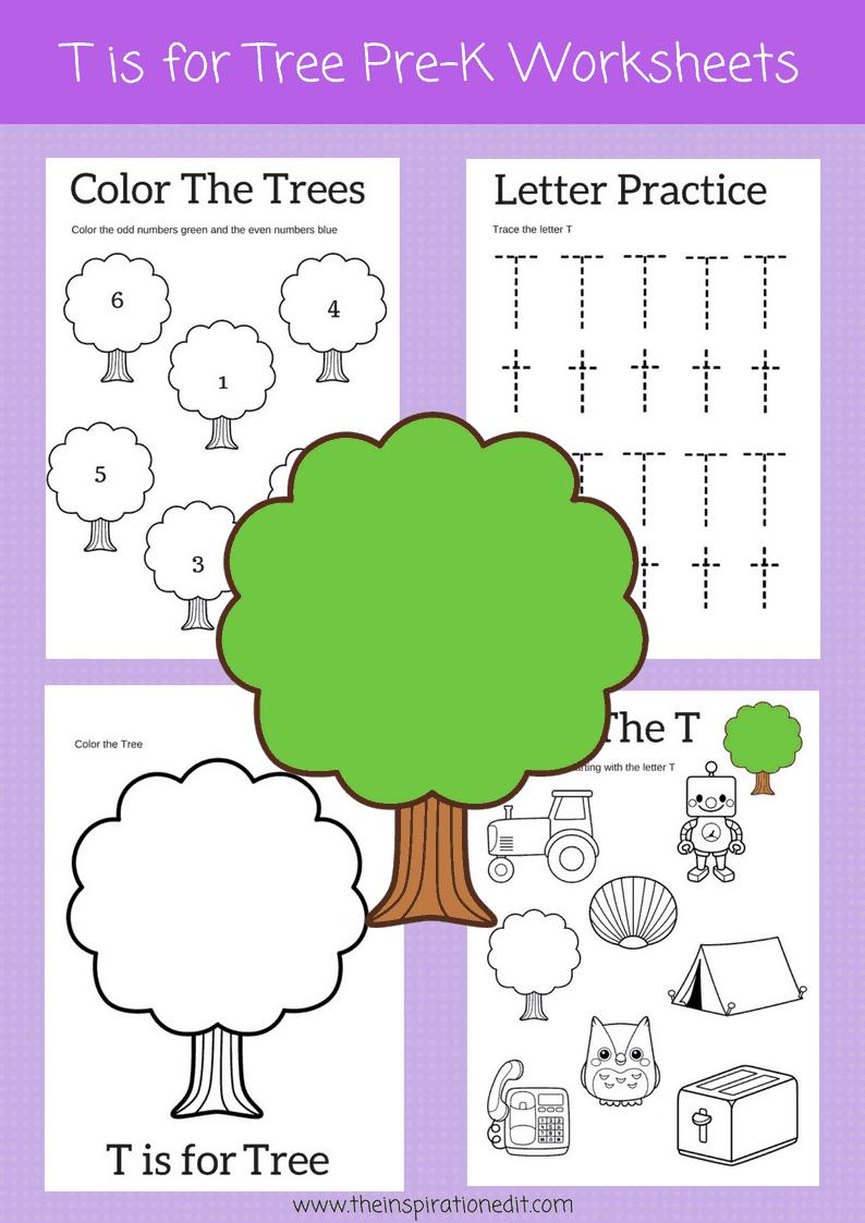 T is for Tree preschool printables