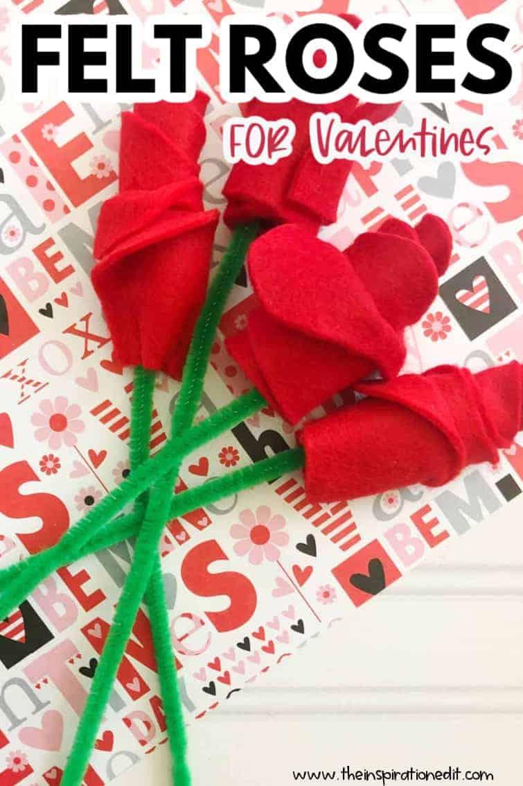 felt roses valentines craft