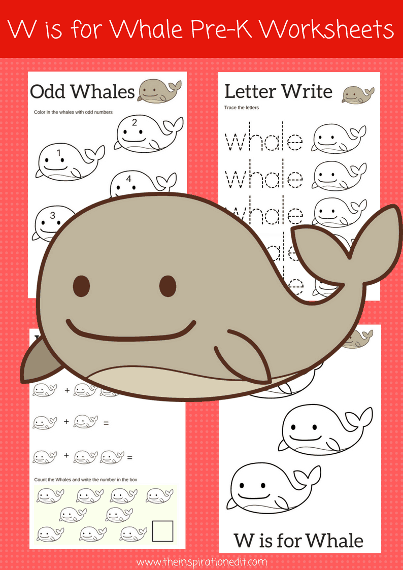 W is for Whale letter W preschool worksheets