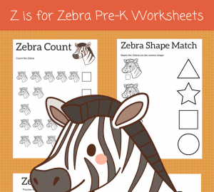 Z is for Zebra preschool printables