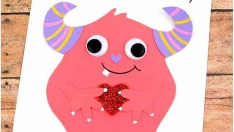 pink monster valentines day card
