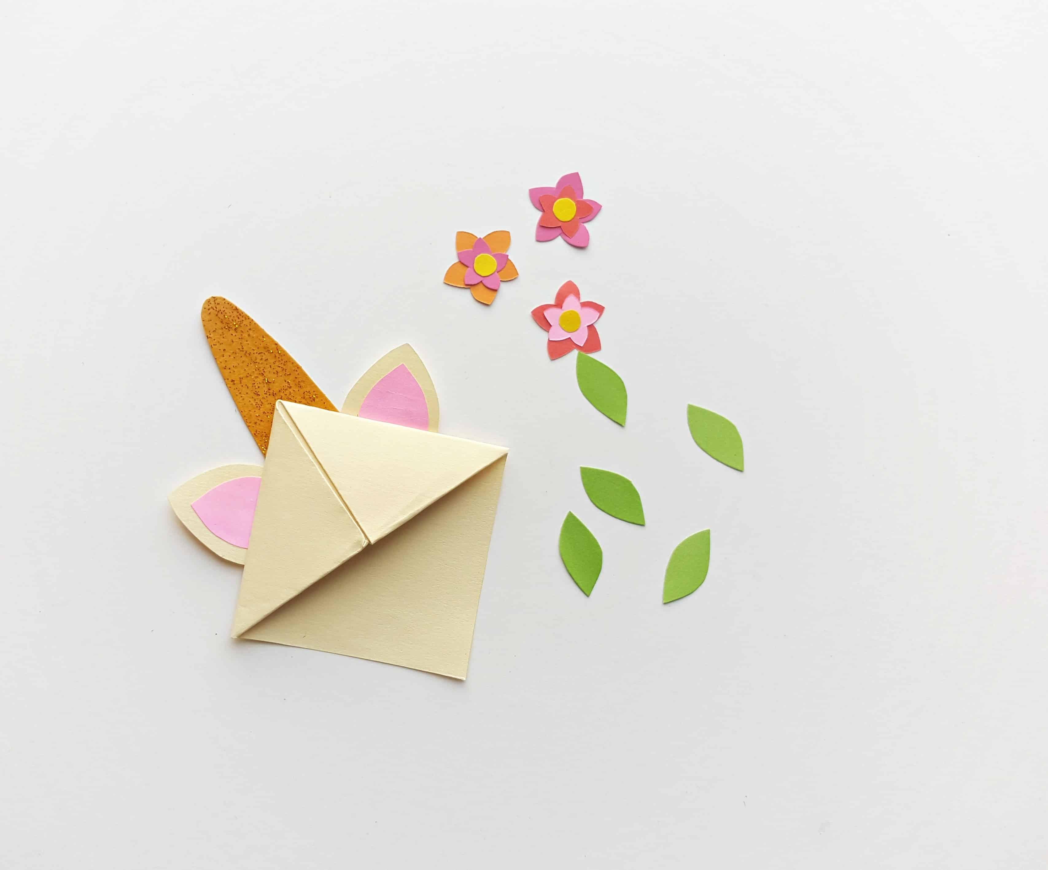 origami unicorn bookmark