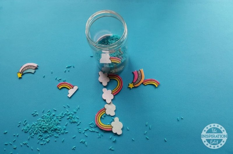 rainbow bar sensory bottle or sensory jar idea!