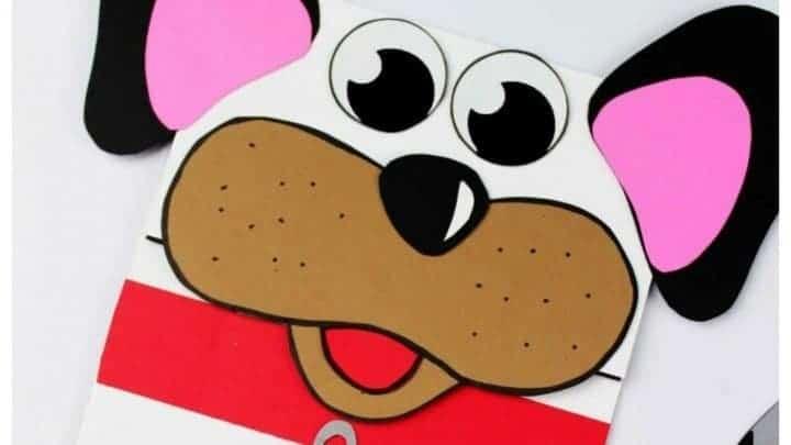 paper dog puppet craft for preschoolers