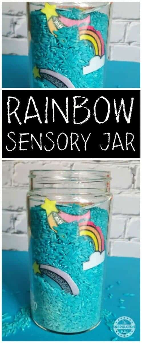 rainbow sensory jar or sensory bottles idea