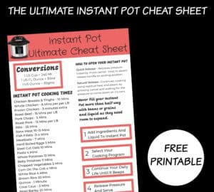 ultimate instant pot cheat sheet