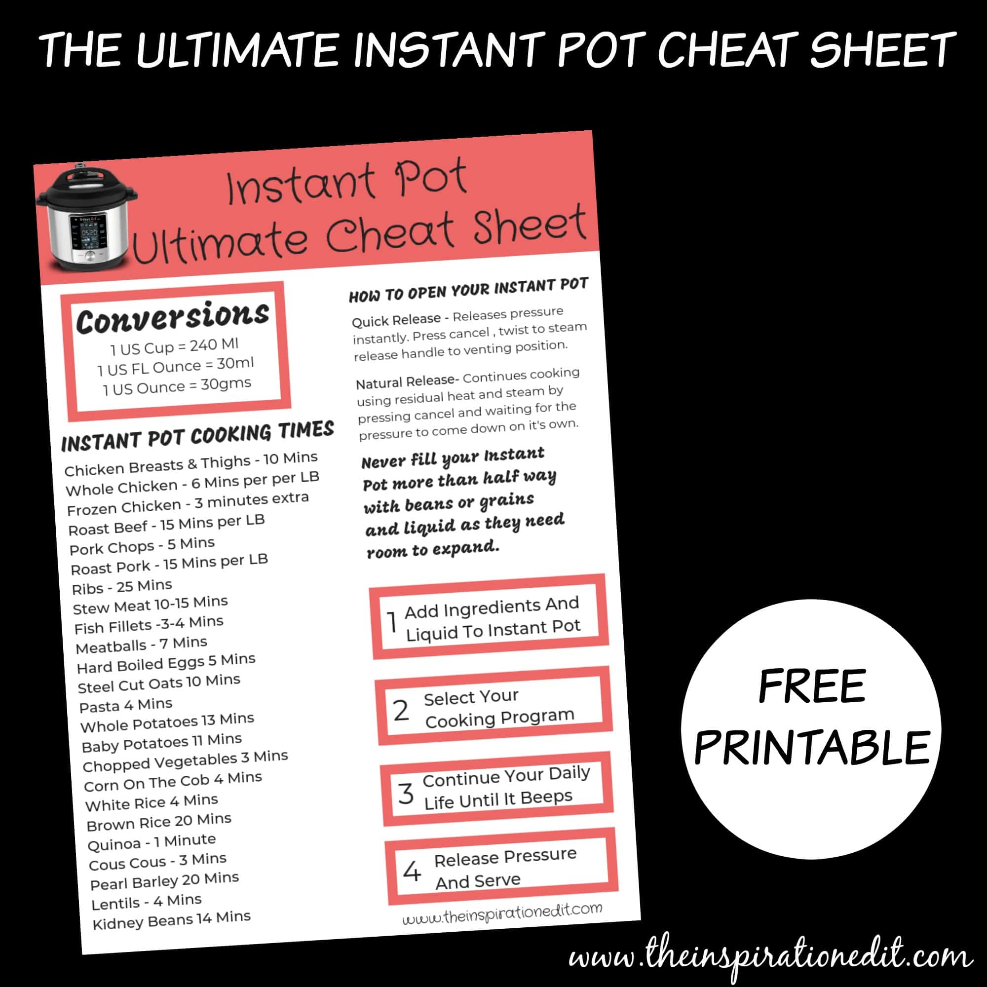 graphic regarding Instant Pot Cheat Sheet Printable identify Instantaneous Pot Duo As well as Cost-free Cheat Sheet · The Enthusiasm Edit