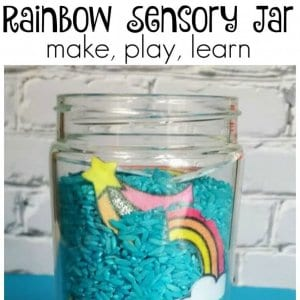 rainbow sensory jar or sensory bottles idea