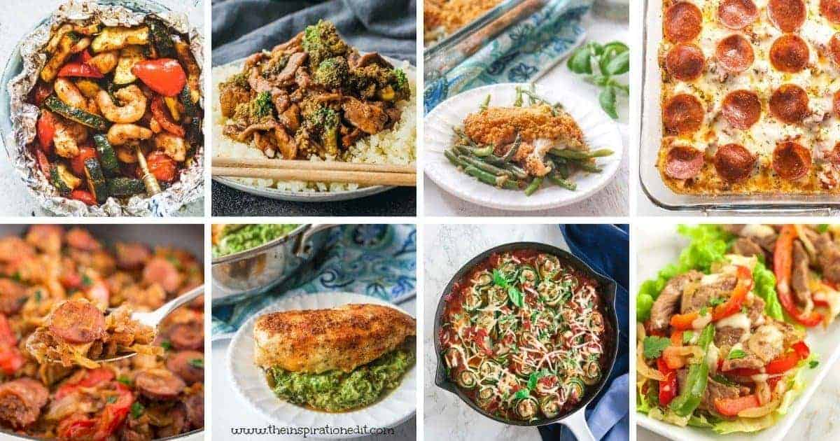 low carb recipes including shrimp, vegetables, pizza, chicken