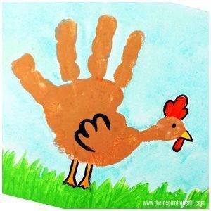 Handprint Chicken Canvas Art