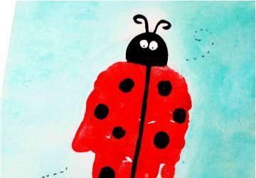 ladybug art project for kids using handprint art