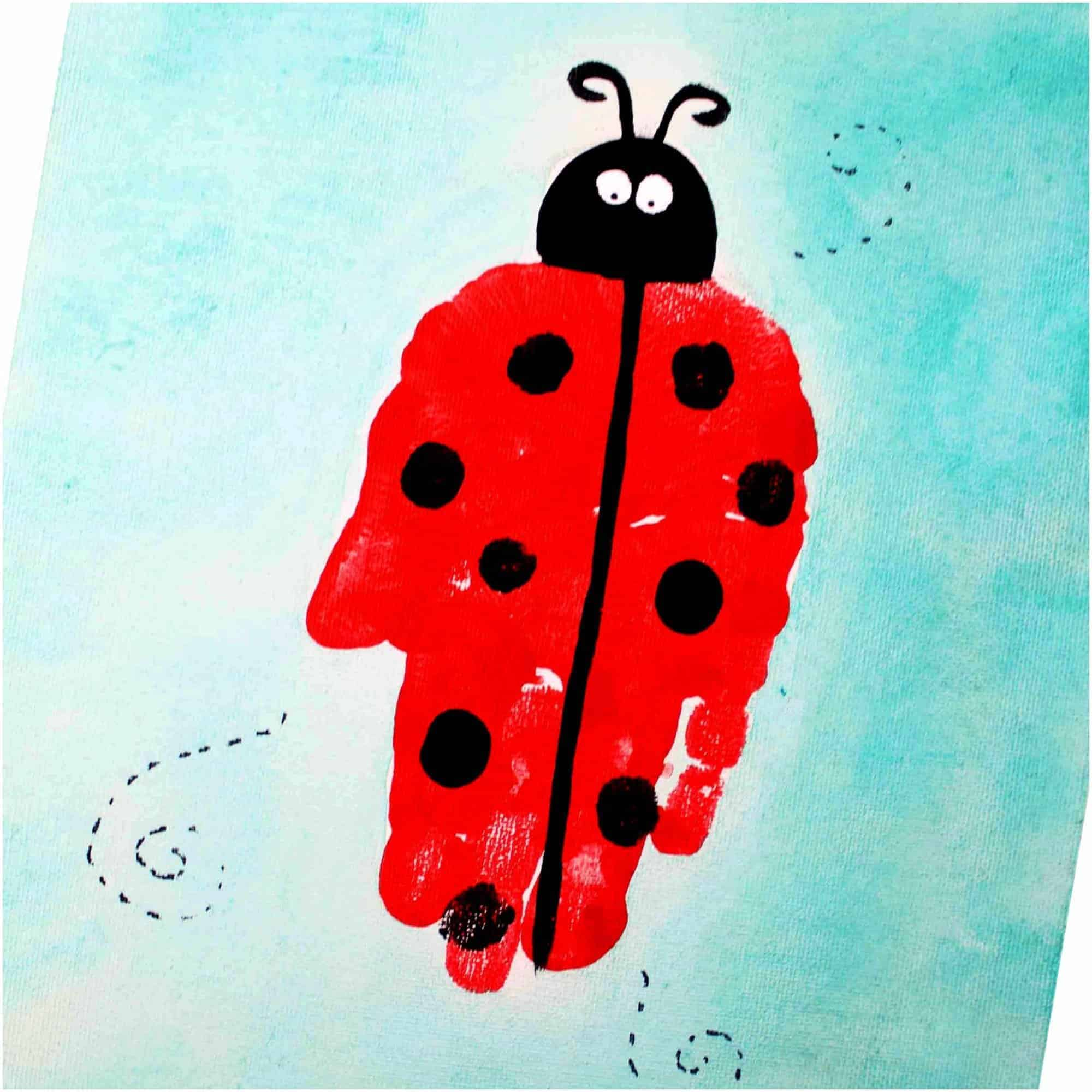 ladybug art project for kids using handprint art