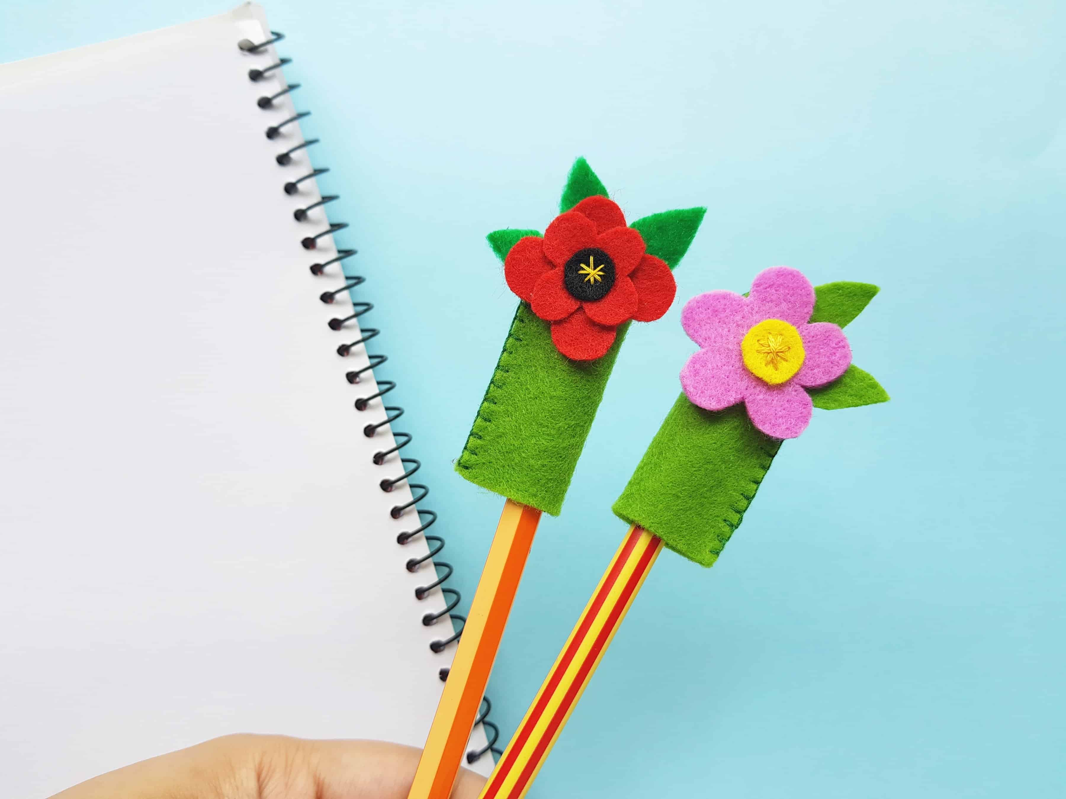 felt craft poppy pencil topper idea